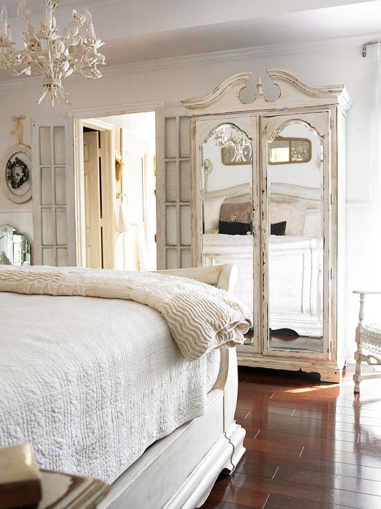 coole deko in weiß schlaftimmer shabby shick stil schrank spiegel