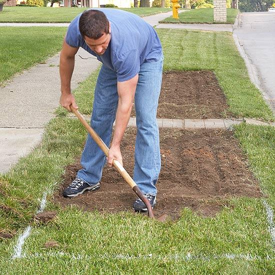 coole gartengestaltung rasen haus blumen bepflanzen gras entfernen