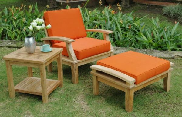 coole gartentisch designs holz orange auflage liege