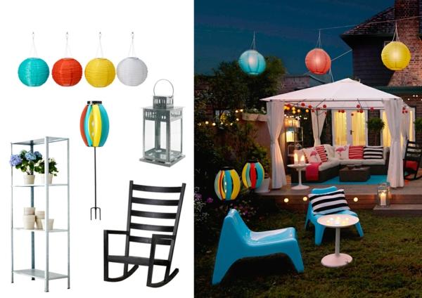 coole gartentisch designs rattan gartenmöbel ball lampen