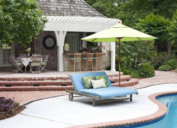 coole idee Sofa und Relax Liege im Garten  elegant blau
