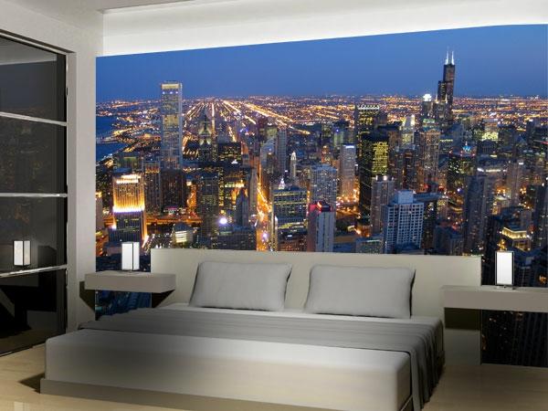 Schlafzimmer Gestalten Mit Fototapete : Die Weltmetropole Chicago in Ihrem Schlafzimmer an der Wand