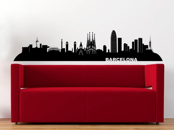coole wandgestaltung wandtattoo barcelona