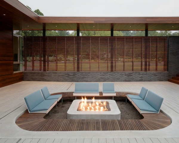 deck design ideen holz material auffallend feuerstelle