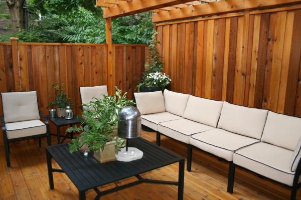 deck design ideen holz material weiß sofa bank