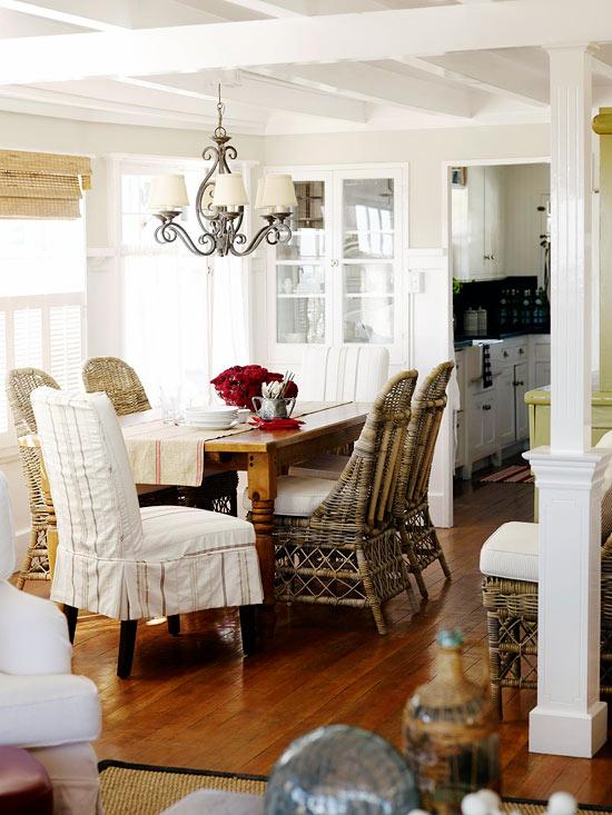 Deko Ideen Haus Vintage Weiß Essbereich Korbmöbel