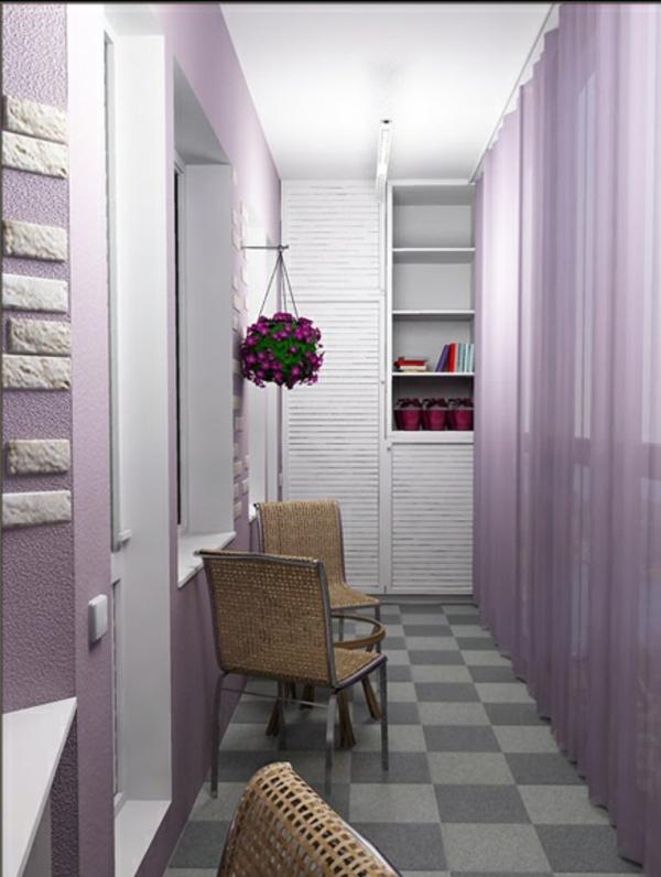 designer balkon projekte idee holz lila hängekorb