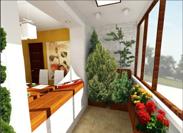 designer terrasse projekt idee holz platte fenster pflanzen