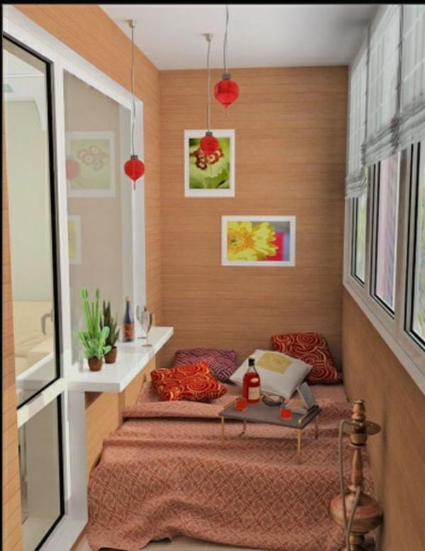 designer terrasse projekt idee holz wandbelag hängelampen rot