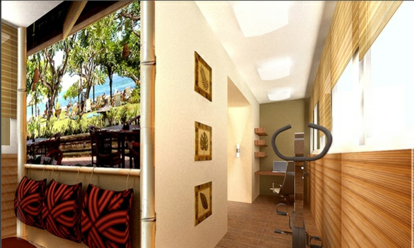 designer balkon projekte idee holz wurfkissen