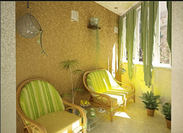 designer balkon projekte idee klassisch grün auflagen
