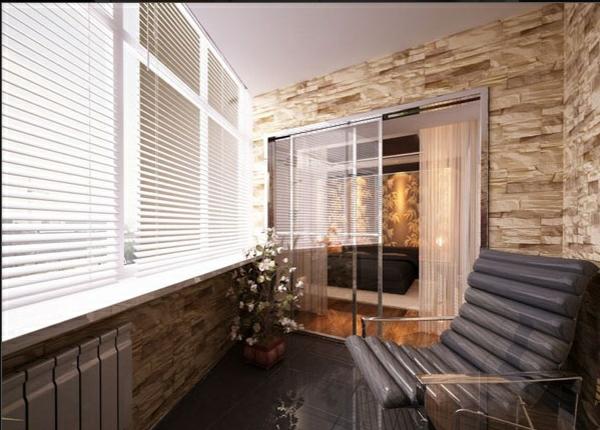 designer balkon projekte idee meer rolladen stilvoll steinwände