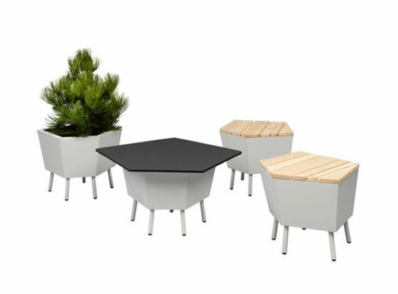 designer balkonmöbel flora tisch hocker baum