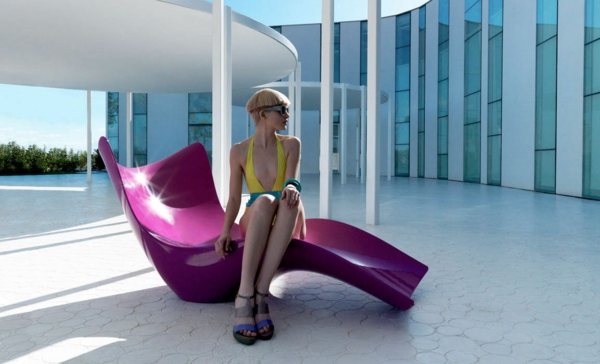 designer gartenmöbel ideen holz rosa liege modern trendig