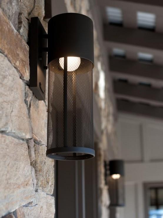 designer terrasse veranda holz vintage möbel wand lampe