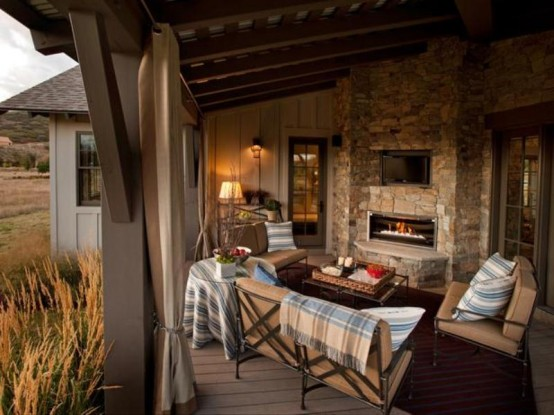 Designer Terrasse Veranda Holz Vintage Möbel Wohnzimmer