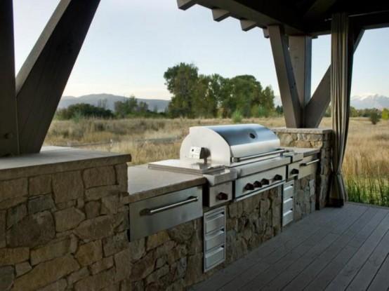 designer terrasse veranda holz vintage möbel zaun staine ofen