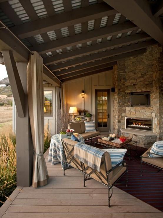 designer terrasse veranda holz vintage möbel
