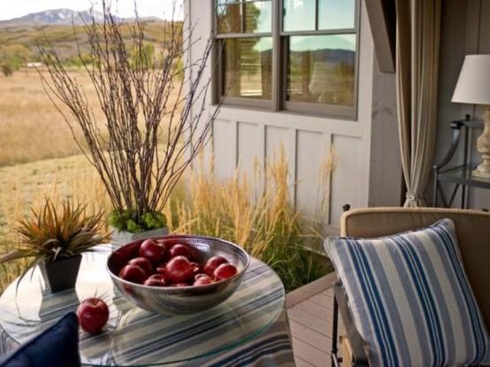 designer terrasse veranda holz vintage tisch apfel schale