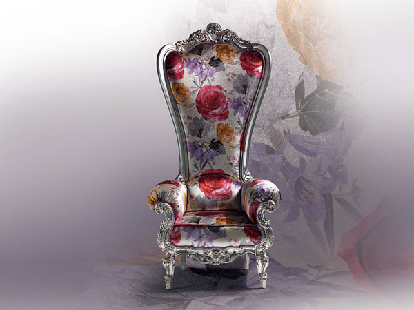Designer Thron Sessel Samt Caspani Blumen Muster Seide