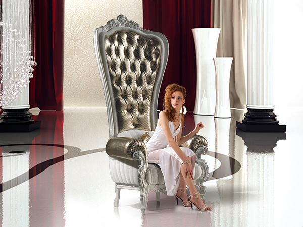 designer throne stuhl  samt caspani glänzend