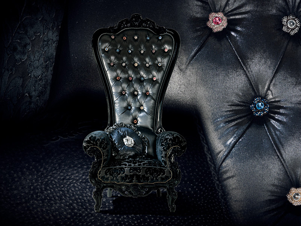 designer thron sessel samt caspani schwarz schmuckstück