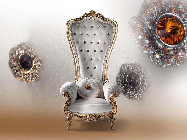 designer throne stuhl  samt caspani weiß schmuckstück