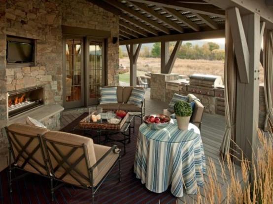 designer veranda terrasse veranda holz vintage möbel essbereich