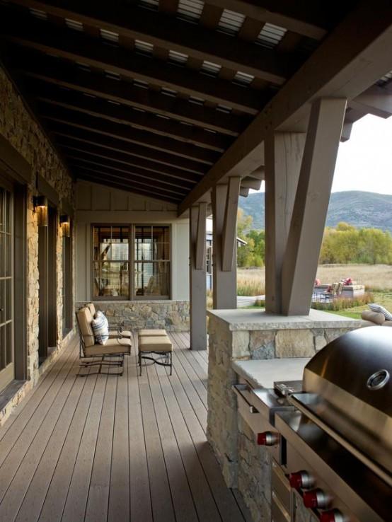 designer veranda terrasse veranda holz vintage möbel holzboden