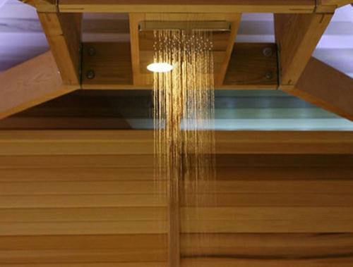 extspa dusche originell holz wandbelag bad Rattan Gartenmöbel Ideen