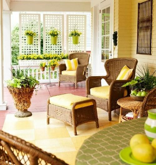 farbenfrohe veranda ideen design korbmöbel gelb