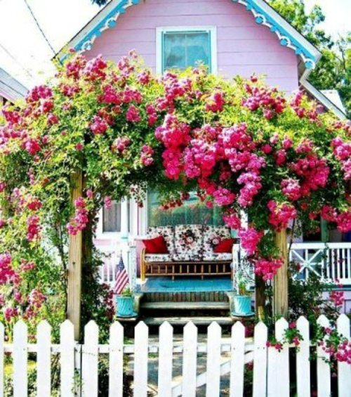 farbenfrohe veranda ideen design rosen