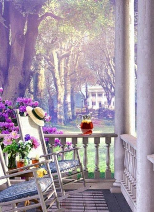 farbenfrohe veranda ideen design