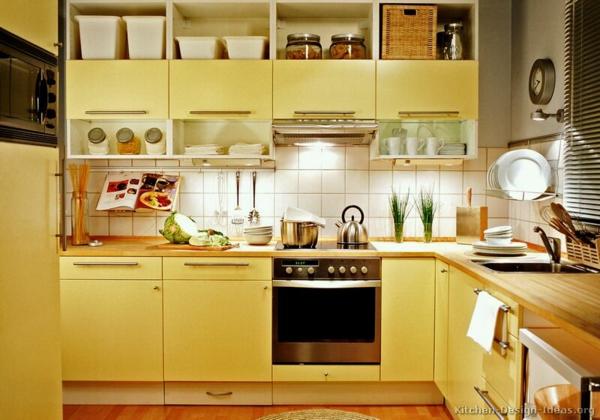 feng shui ideen gelb ofen spülbecken kühlschrank hell gelb