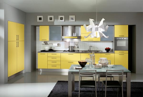 feng shui ideen gelb ofen spülbecken kühlschrank