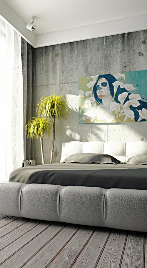 feng shui im schlafzimmer minzgrün pflanzen wand gemälde
