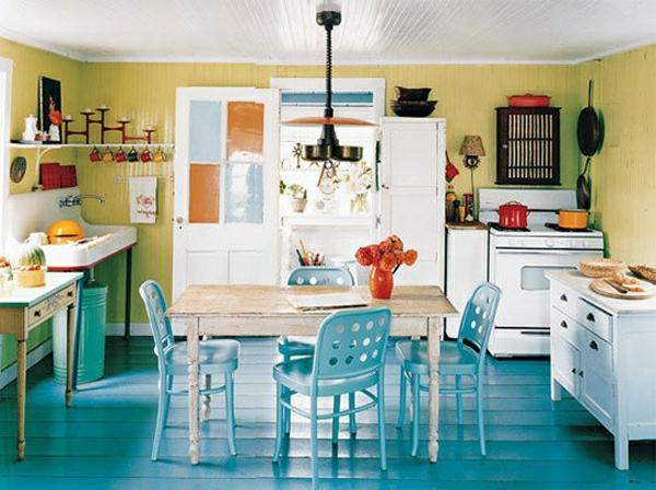 feng shui küche wärme einladend holz gelb blau hell