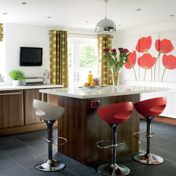 feng shui küche wärme einladend holz rot warm tulpen