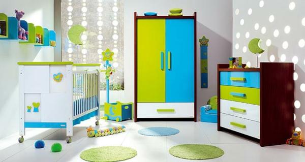 feng shui kinderzimmer weiß frisch grelle farben grün blau