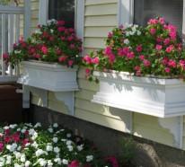 Blumenkästen auf der Fensterbank draußen – sichere und schöne Blumendeko