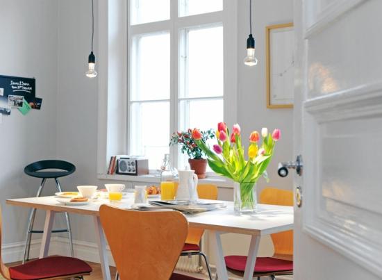 frühjahr deko tischdeko teller essbereich tulpen
