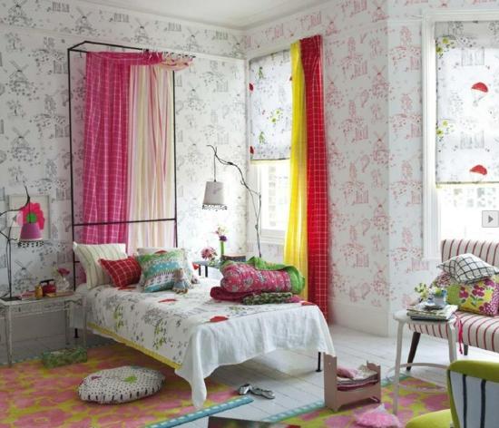 frühlingsdeko ideen schlafzimmer einrichtung rosa gardinen