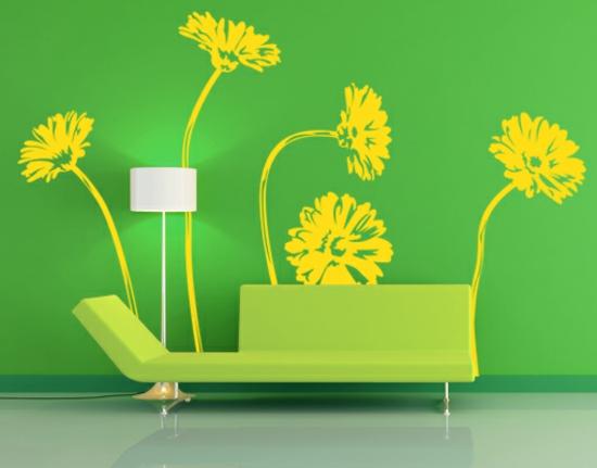frühlingsdeko ideen sofa grün wand tapete blumen gelb