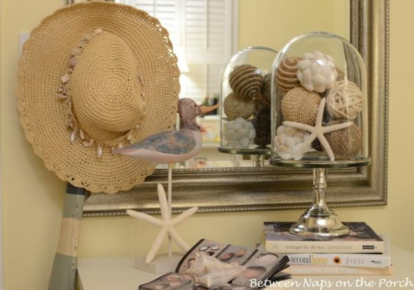 frisch sommer deko ideen türkis farbe akzent tisch spiegel