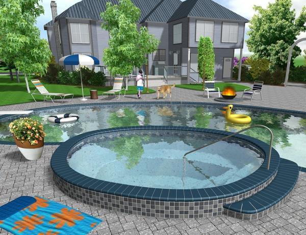 garten gestalten mit pool – reimplica, Garten Ideen