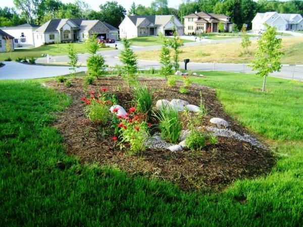 garten regenwasse abfluss hof gras grün rot blumen