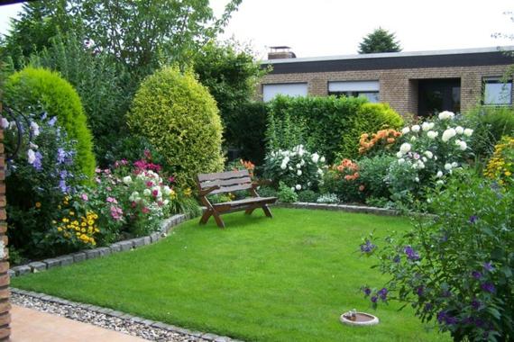 gartengestaltung pflanzen reichtum bank rasen gras