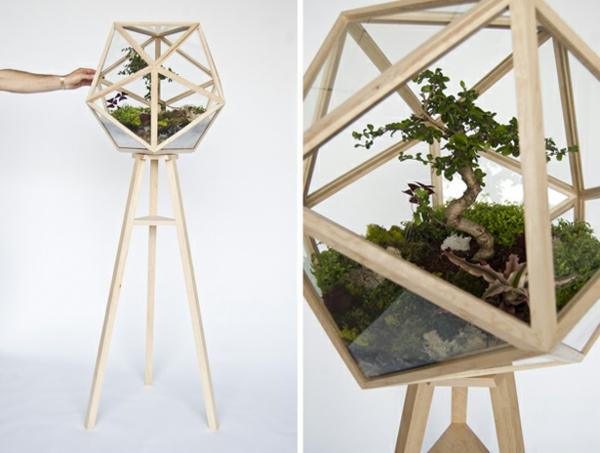 designer idee gartengestaltung terrarium bonsai baum