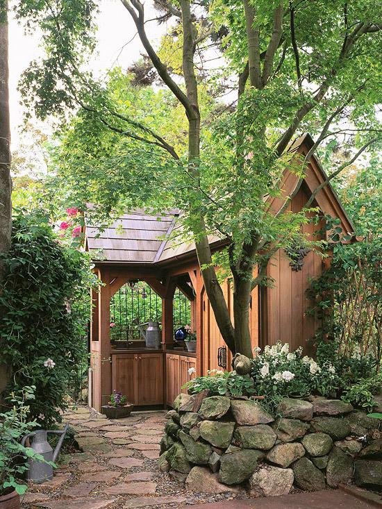 pin gartenhaus aus holz gartenideen gartenbau. Black Bedroom Furniture Sets. Home Design Ideas