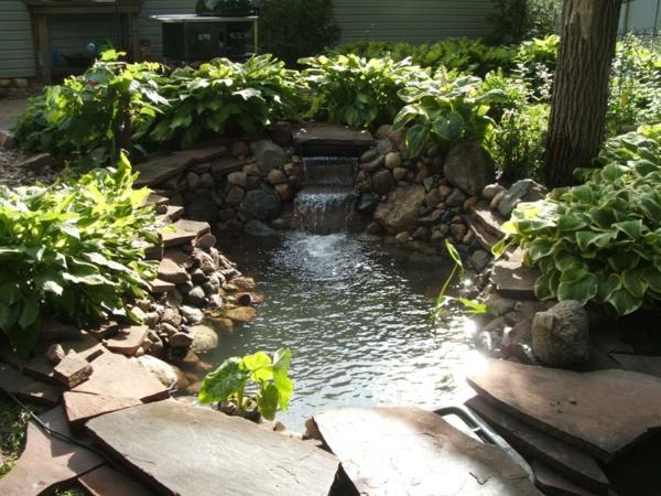 wassergarten gestalten stein Schönen Gartenteich anlegen